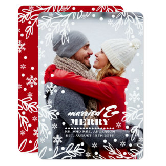 Married & Merry. Custom Holiday Flat Photo Cards 13 Cm X 18 Cm Invitation Card