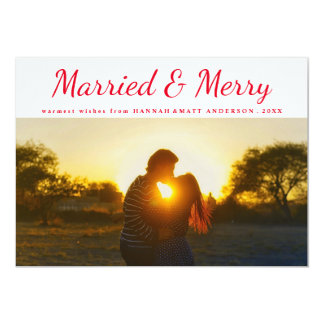 Married & Merry Typography Red Polka Dots Photo 13 Cm X 18 Cm Invitation Card