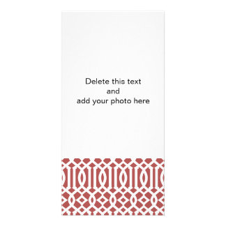 Marsala and White Modern Trellis Pattern Photo Card