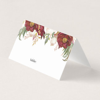 Marsala Floral Wedding Place Card