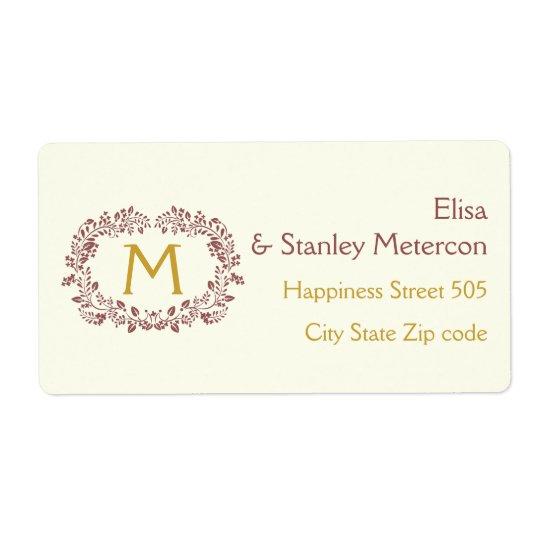 Marsala foliage wreath frame & monogram wedding shipping label
