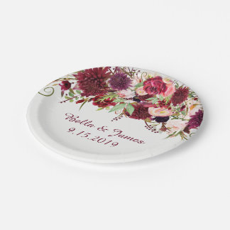 Marsala Red Burgundy Floral Wedding Paper Plate 7 Inch Paper Plate