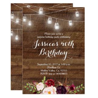 Marsala String light birthday invitation