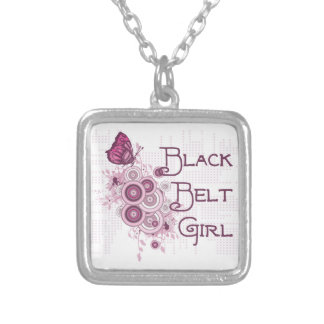 Martial Arts Black Belt Girl Pink Butterfly Square Pendant Necklace
