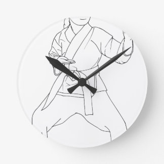 Martial Arts Girl Round Clock