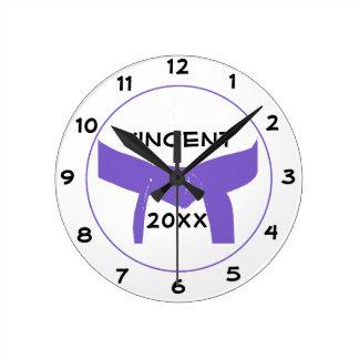 Martial Arts Purple Belt Round Clock