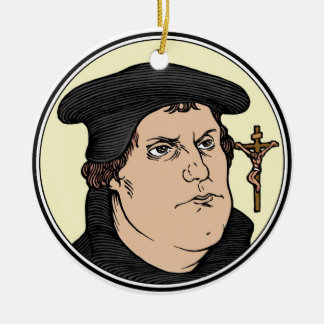 Martin Luther confessing Christ crucified ornament