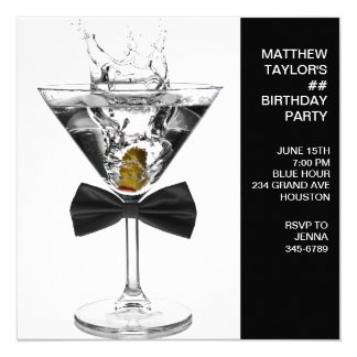 Martini Glass Mans Any Number Birthday Party Card