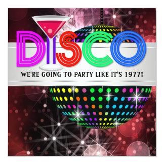 Martini Mirror Ball Disco Party Card