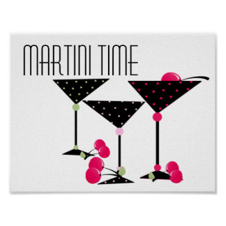 Martini Time Black With Pink Poster
