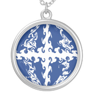 Martinique Gnarly Flag Round Pendant Necklace