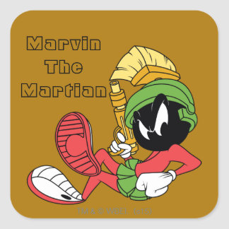 MARVIN THE MARTIAN™ Reclining With Laser Square Sticker