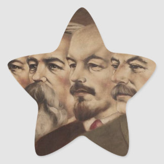 Marx, Engels, Lenin, and Stalin Star Sticker