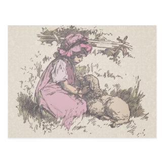 Mary Had a Little Lamb Nursery Rhyme Postcards