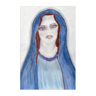 Mary In Blue Acrylic Print
