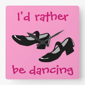 Mary Janes Dance Shoes Id Rather Be Dancing Square Wall Clock