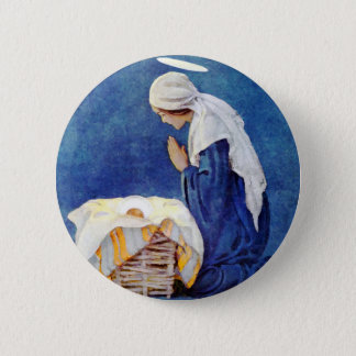 Mary Praying And Baby Jesus 6 Cm Round Badge