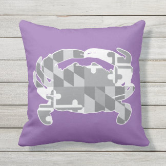 Maryland Flag/Crab greyscale pillow - lavander