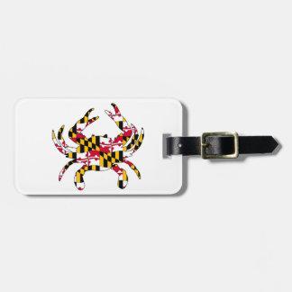 Maryland Flag Wavy Crab Luggage Tag