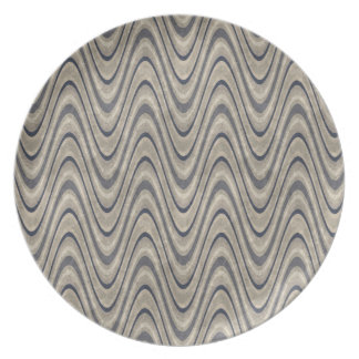 Masculine Chevron Wave Pattern in Blue and Beige Party Plate