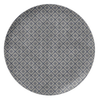 Masculine Geometric Squares Pattern Blue and Beige Dinner Plates