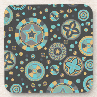 masculine mustard Starry Circles Coaster