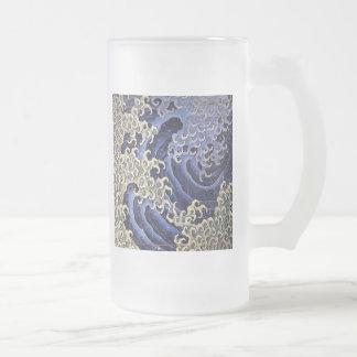 Masculine Wave by Katsushika Hokusai Frosted Glass Beer Mug