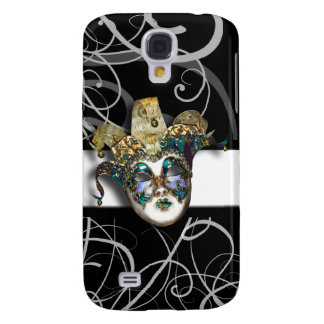 Mask gold blue Venetian masquerade Galaxy S4 Case