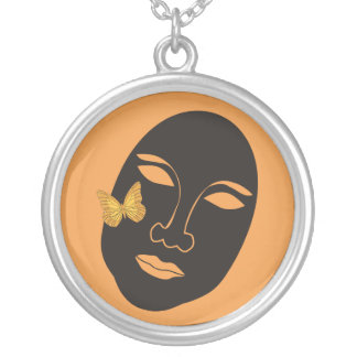 Mask with orange butterfly pendants