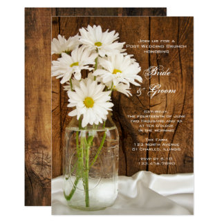 Mason Jar and Daisies Country Post Wedding Brunch Card