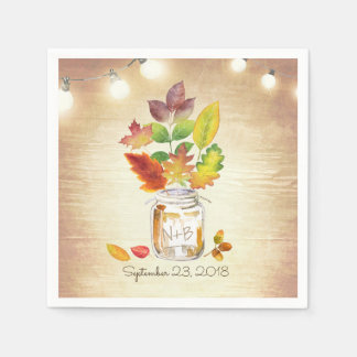 Mason Jar and Fall Leaves Rustic Wedding Disposable Serviettes