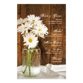 Mason Jar and White Daisies Country Wedding Menu