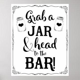 Mason jar bar sign wedding black elegant color poster