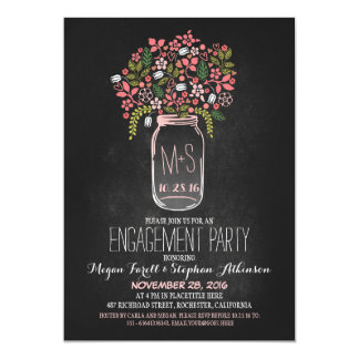 mason jar chalkboard engagement party invitation
