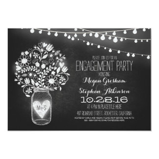 mason jar chalkboard & lights engagement party 13 cm x 18 cm invitation card
