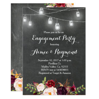 Mason Jar Engagement Party Invitation Marsala