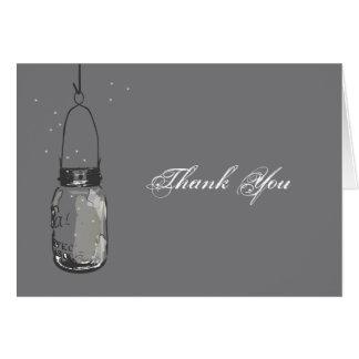Mason Jar & Fireflies Note Card