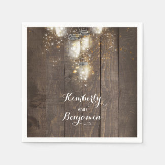 Mason Jar Firefly Lights Rustic Country Paper Napkin