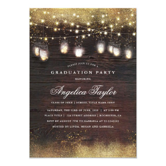 Mason Jar Lights and Rustic Wood Graduation Party Card