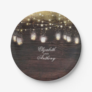 Mason Jar Lights Rustic Wedding Paper Plate