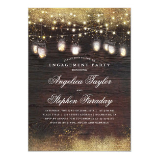 Mason Jar Lights Rustic Wood Engagement Party Card