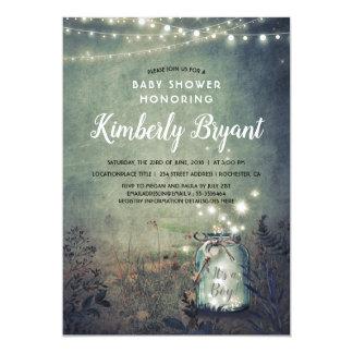 Mason Jar Lights Rustic Woodland Baby Shower Card