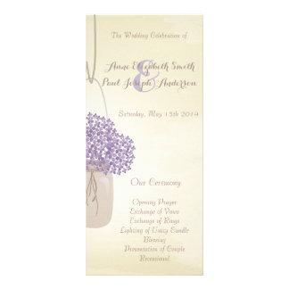 Mason jar lilac hydrangea Wedding Program Full Color Rack Card