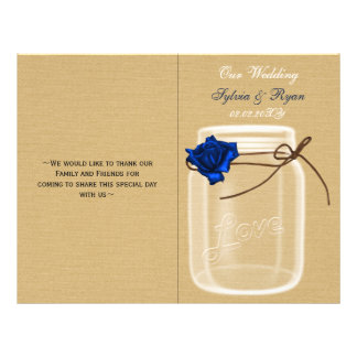 mason jar navy blue rose book fold Wedding program 21.5 Cm X 28 Cm Flyer