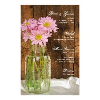 Mason Jar Pink Daisies Country Barn Wedding Menu
