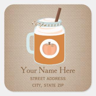 Mason Jar Pumpkin Spice Fall Drink Address Sticker