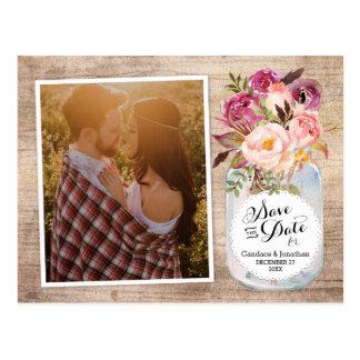 Mason Jar Watercolor Flowers Photo Save the Date Postcard