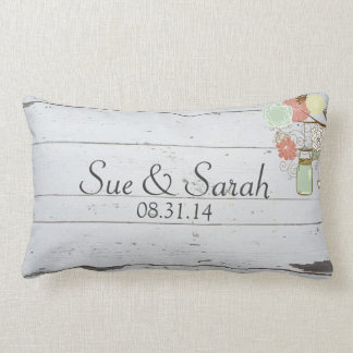 Mason Jars and Flowers Wedding Gift Lumbar Cushion