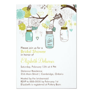 Mason Jars Spring Floral Bridal Shower Invitaiton 13 Cm X 18 Cm Invitation Card