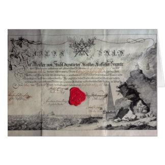 Masonic certificate, 1785 card